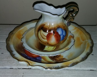 3 pc ceramic/China fruit pattern set