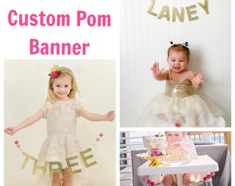 ANNUAL 50% OFF SALE Felt Pom Banners