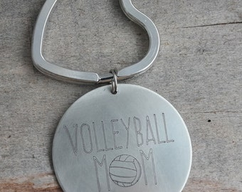 Volleyball Mom Personalized Key Chain - Engraved