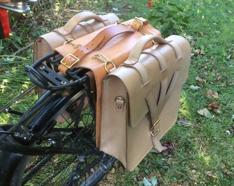 Custom made leather bike pannier bags