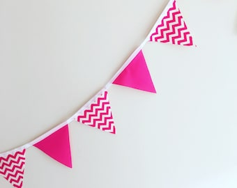 Fabric Bunting Pink Chevron Baby Girl Nursery Decor Baby Shower Flags