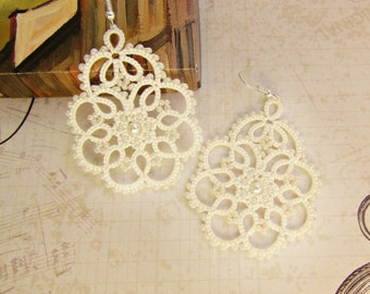 Wedding Ivory Bridal Tatted Lace Earrings Lace Jewelry Beaded Earrings Victorian Bohemian Earrings Statement Womans Gift