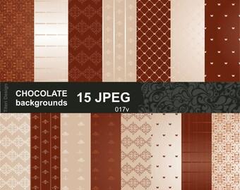 15 JPEG 300 dpi Chokolate backgrounds paper, digital paper, scrapbook pattern