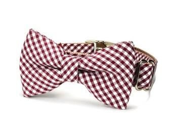 Texas Aggie Bow Tie Dog Collar, Maroon Gingham Dog Bow Tie Collar, Preppy Dog Collar, Gingham Dog Bow Tie, Gingham Collar