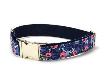 Blue Floral Dog Collar, Blue Dog Collar, Floral Dog Collar, Blue Coral Floral Collar, Navy Floral Dog Collar, Rifle Paper Co, Cotton + Steel