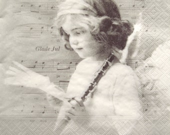 Paper Napkins for Decoupage, Victorian girl, music, Angel, music, Glade July Flute,  set of 3 paper napkins, 33x33 cm (no.104)