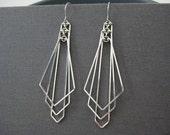 Art Deco Earrings - long statement arrow fan earrings, modern minimal wedding, silver geometric jewelry, architect gift - Tiered Arrow