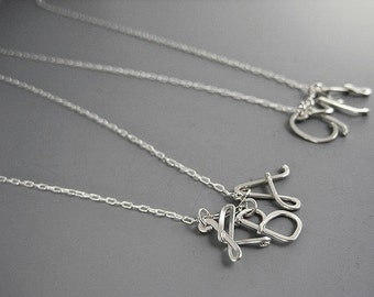 Mom Initial Necklace - 3 uppercase letter with silver plated chain, personalized grandmother jewelry