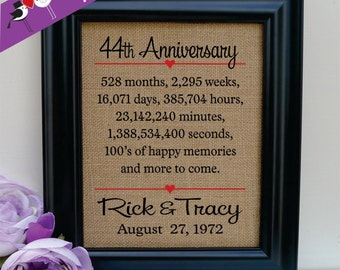 44th anniversary Gift to Wife Gift to Husband Anniversary Gift for Wife Annivesary gift for Husband Wedding Anniversary Gift (ann302-44)