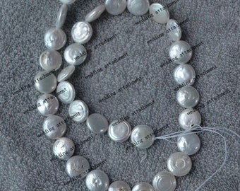 white coin pearls, A 15.8 inch 12.5 -13 mm coin pearl strings,freshwater pearl jewelry making material supply,one full strand coin pearl
