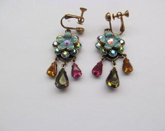 Kirks Folly Brilliant-Multi Color Dangle Earrings
