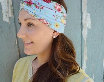SALE!!Blue Floral Headwrap; Yoga Headband, Turban, Cotton, Jersey, Running, Hair Accessories, Twist