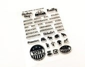 "Ms. Kimm Creates MY VOICE MATTERS 3""X4 Photopolymer Clear Stamp Set - Journal, Planner, Election Day, Vote"