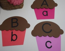Cupcake Die Cut Set - Alphabet, ABC Match, Learning games, Rhyming, Education, File Folder activity, Homeschool,