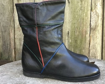 Boots Vintage/ 90s/ genuine leather/ women/ Black/ number IT 38/ UK 5/ US 7.5/ lined/ Made in Italy