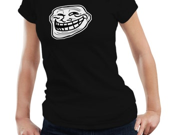 Troll Face Meme Ladies Woman Internet Birthday Party Funny Gift T shirt Tshirt Top S-3XL