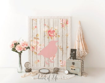 Bird printable art / 5x7 8x10 11x14 pink bird shabby chic printable / Shabby chic nursery printable / Pink bird art HEART OF LIFE Design