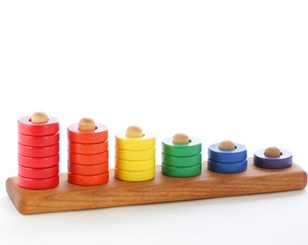 Wooden Toy Ring Stacker - Rainbow - Montessori - Waldorf