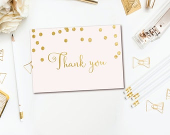 Pink & Gold Thank You Note - Confetti Thank You Notes - 3.5x5 Folded Thank You Cards - INSTANT DOWNLOAD