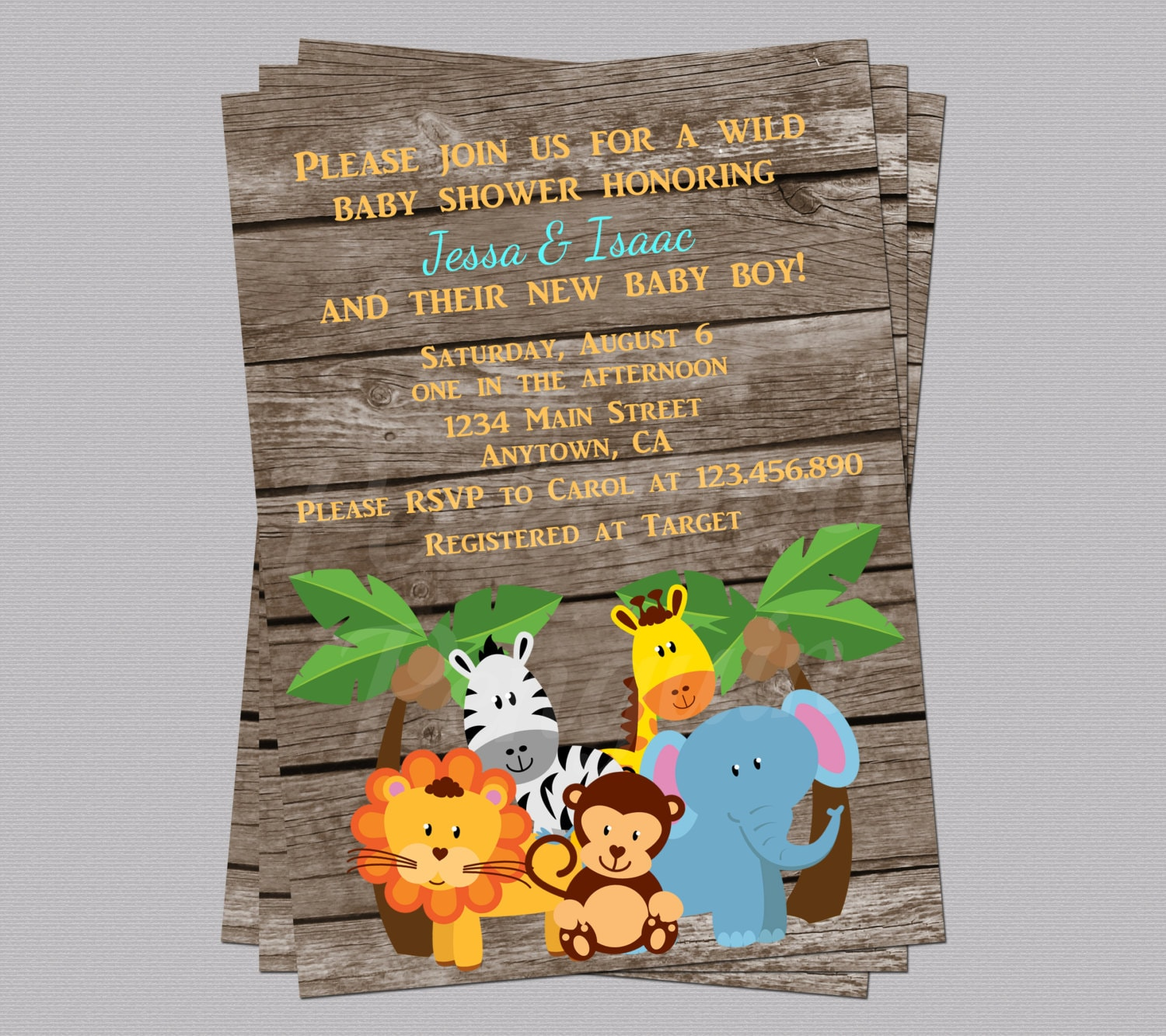 Jungle Baby Shower Invites Zoo Animal Baby Shower Jungle