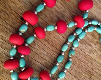 Amazon - Turquoise and Red Statement Necklace