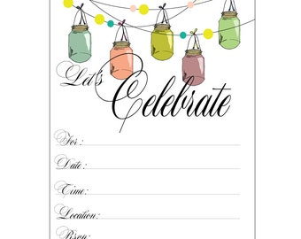 Let's Celebrate! / Fill-in Party Invitations / Pack of 12/ Simply Serendipity Press/ Mason Jar Design