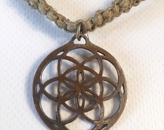 Hemp Necklace - Seed of life Pendant