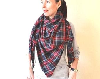 Gift for women Tartan scarf Blanket scarf Oversized scarf Plaid scarf Flannel scarf Black blanket scarf Gift for girlfriend Wool scarf