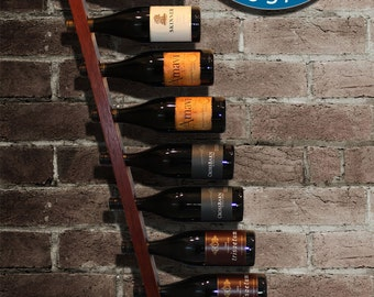 12 bottle Hanging Wall Wine Rack - handmade from Jarrah hardwood