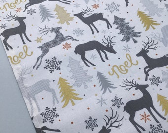 Holiday Table Runner - Gold, Silver, Gray and White Christmas Table Runner with Reindeer and Noel Deisgn