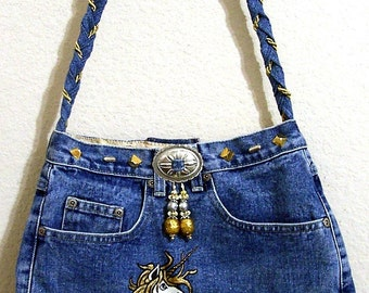 Unicorn -- Denim Handbag -- Item Number 1147-- 16 Pockets