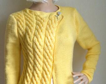 Hand knitted women's cardigan