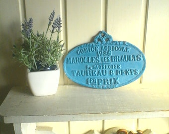 French Metal Sign Plaque Cattle Breeding Award Agricultural Livestock Award French Home Decor French Farmhouse Decor French Country Decor