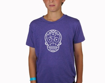 Reflective Bicycle Sugar Skull Purple T-Shirt