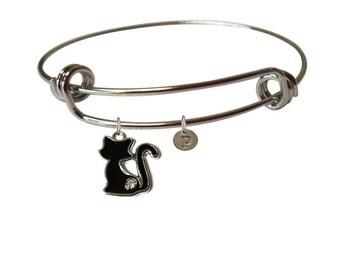 Black Cat Bracelet- Charm Bracelet- Cat Memorial Jewelry- Cat Lady Jewelry- Cat Lover Gift- Cat Monogram- Cat Remembrance- Cat Jewelry- Cats