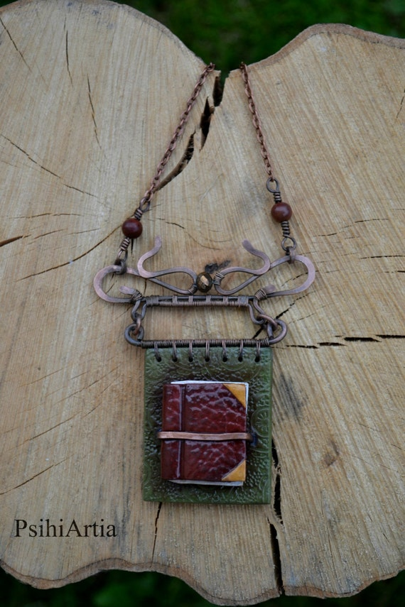 Book lover jewelry Book pendant Polymer clay book Wire wrapped pendant Copper wire jewelry Polymer clay creations Book necklace Fairy tale