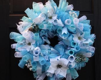 Winter Mesh Wreath, Winter Door Decor, Winter Wreath, Holiday Wreath, White Poinsettia Wreath, Christmas Deco Mesh Wreath, Christmas Wreath