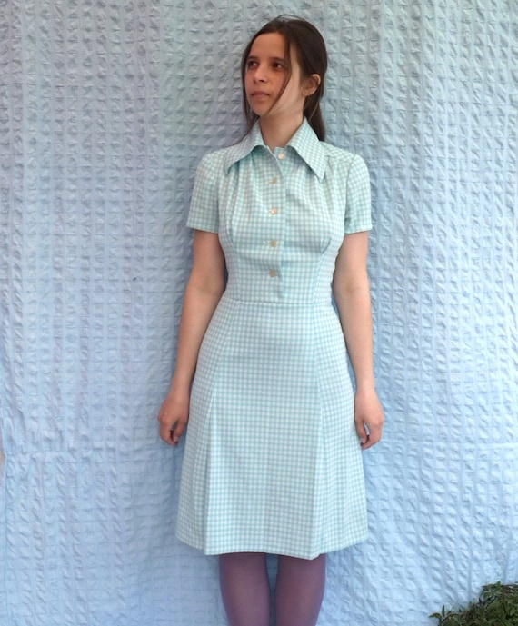 40s 50s waitress dress 1950s vintage dress white blue