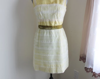 60s Yellow Mini Dress Size  Medium Lace Sleeveless Chiffon Sun Dress