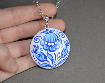 wedding gift ideas bridesmaids gift boho jewelry handmade Pendant wooden Jewelry wood necklace blue white Jewelry wedding painted pendant