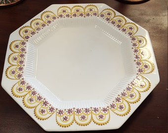 Octagonal Independence Ironstone Yellow and purple Flower Plate
