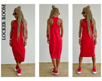 Red Dress / Midi Dress / Summer dress / Casual red dress /Open back dress/Tube dress /Plus size dress