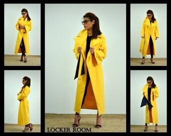 Women Maxi coat /Winter coat /Plus size coat/Extravagant coat / Winter Wool Coat /Long sleeves Coat/Asymmetric coat