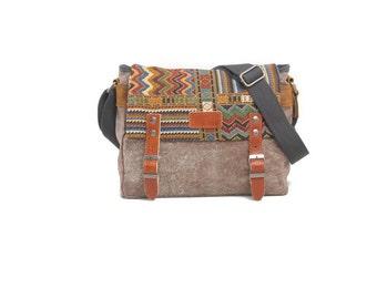 Small Aztec print brown canvas messenger bag with - grey satchel bag - soft messenger bag - canvas messenger bag - canvas book bag