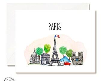 Paris Illustration Card - Set of 10 - A2 Blank