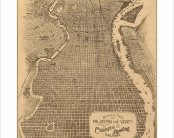 "Philadelphia Pennsylvania in 1870 Panoramic Bird's Eye View Map 16x22"" Reproduction"