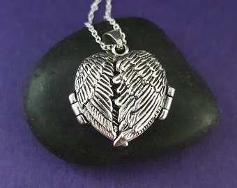Sterling Angel Wings locket necklace - folded wings - griever locket - protection pendant - photo locket - remembrance necklace