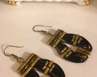 Vintage 1980's Hand Crafted Genuine Leather Work Earrings for Pierced Ears