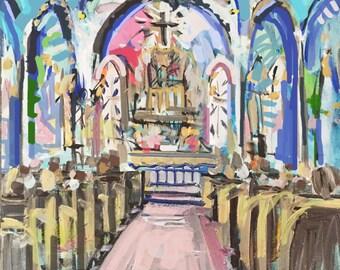Modern Art Print , Abstract Church Print, pink, lime, aqua, marendevineart