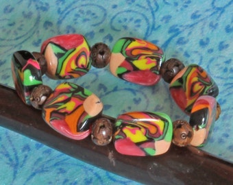 Bead Bracelet - Handmade Polymer Clay Bracelet - Dynamic  Colourful Bracelet - Boho Jewellery - Tropical Vibes